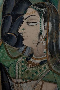 Pichhvai depicting a dense forest scene, gopi's looking for Krishna, detail