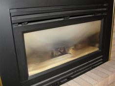 Dirty Glass At Gas Fireplace. Cleaning ...