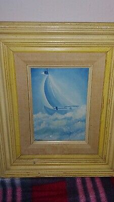 Miniature Sailboat Oil Painting Signed Jingo Framed EUC Shipped with USPS First Class Package. Painting size is x frames 10 x 12 inches. Ebay Paintings, 10 Frame, Sailboat, Frames, Miniatures, Oil, Beautiful, Sailing Boat, Sailboats