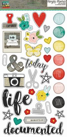 Simple Stories - Life In Color Collection - Chipboard Stickers Printable Stickers, Cute Stickers, Printable Planner, Planner Stickers, Scrapbook Stickers, Scrapbook Albums, Scrapbook Paper, Smash Book, Travel Crafts