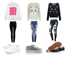 """""""cat :)"""" by nehirsanlidag ❤ liked on Polyvore featuring River Island, Forever New and Vans"""
