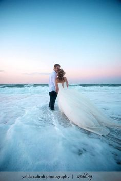 Destination Wedding Ideas - Photo Ideas - idea for a beach wedding.if you can stand to get your dress wet! Wedding Fotos, Beach Wedding Photos, Beach Wedding Photography, Sunset Wedding, Photography Poses, Wedding Shot, Wedding Bride, Wedding Hair, Wedding Reception