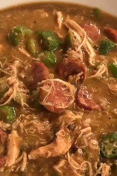 A classic roux is the thickening agent for this traditional Cajun-style gumbo made rich and hearty with chicken sausage. Cajun Gumbo Recipe, Chicken Gumbo Recipes, Jambalaya Recipe, Chicken Gumbo Soup, Creole Recipes, Cajun Recipes, Soup Recipes, Cooking Recipes, Haitian Recipes