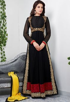 Glamorous black color full length anarkali suit-Clothing-DANI CREATIONS