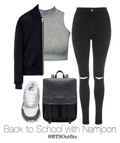 """Back to School with Namjoon"" by btsoutfits ❤ liked on Polyvore featuring NIKE, Club L, Topshop and McQ by Alexander McQueen"