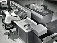 Brent Computer Centre, woman operating computer - 1965