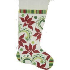 Needlepoint Christmas Stocking<BR>Modern Poinsettia
