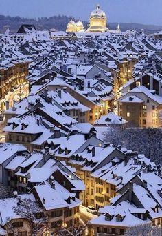 Snowy Night, Bern, Switzerland