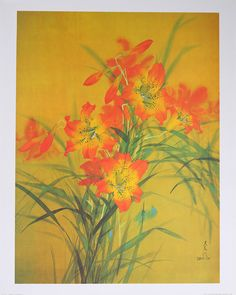 Tiger Lily by artist David Lee - Original Fine Art Lithograph - Vintage - Signed and stamped in print. Come see our entire collection of fine art lithographs in our store. Moving To Hawaii, Painting Competition, David Lee, Custom Framing, Printmaking, Fine Art Prints, Lily, Stamp, Tiger Lilly