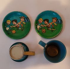 VINTAGE SMALL TIN CUP AND SAUCER SET : antique tin plates - pezcame.com