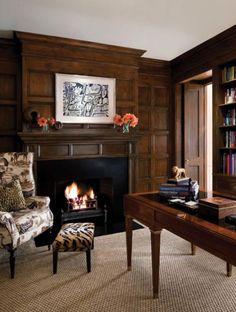 Wood paneled library.