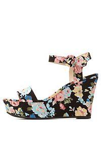 Qupid Floral Platform Wedge Sandal