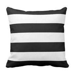 Black and White Horizontal Stripes Pillow