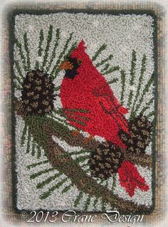 """Crane Design by Jan Mott Wool Applique Penny Rug & Punchneedle Patterns: New 2014 Wool Applique Pattern """"Sheep Oasis"""" Plus Willow Tree Twig Bag Punch Needle Kits, Punch Needle Patterns, Rug Hooking Designs, Rug Hooking Patterns, Crane Design, Wool Applique Patterns, Stitch Patterns, Latch Hook Rugs, Hand Hooked Rugs"""