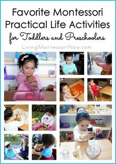 Waldorf + Montessori: Practical life, or daily living, activities are essential for young children. Here are ideas of favorite Montessori practical life activities for toddlers and preschoolers at home or in the classroom. Montessori Baby Toys, Montessori Education, Montessori Activities, Infant Activities, Learning Activities, Montessori Bedroom, Baby Education, Montessori Materials, Special Education