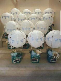 Hot air balloon center pieces baby shower centerpieces, baby shower d Hot Air Balloon Party, Hot Air Balloon Centerpieces, Baby Shower Balloon Decorations, Diy Hot Air Balloons, Its A Boy Balloons, Baby Shower Balloons, Baby Shower Centerpieces, Hot Air Ballon Diy, Baby Shower Gifts For Boys