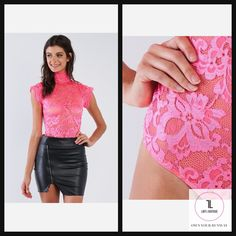 Lace Collared Short Sleeve Corset Back Sexy Bodysuit #TOPS #NeonPink #NewArrivals #APPAREL #blogger #travel #lifestyle #whatiwore #ootn #lookoftheday Bodysuit Tops, Lady L, Beauty Boutique, Lace Collar, Small Waist, Clubwear, What I Wore, Corset, Collars