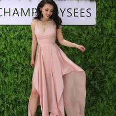 Pink Chiffon Irregular maxi dress