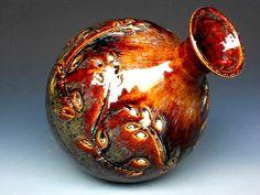 Dark Honey Glaze Flower Vase Ceramic Pottery B. Darshan Pottery