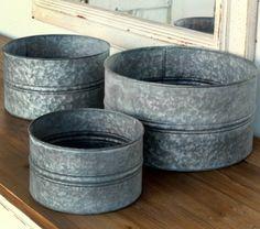 Round Galvanized Containers, Set of 3