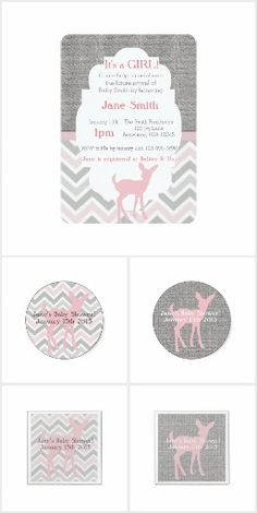 It's a Girl Doe Themed Baby Shower Collection. These cute pink baby deer invitations with a pink chevron and gray burlap background will be great for your next baby shower #ad #itsadoe #doe #deer #itsagirl #girlsbabyshower #babyshower #pink #gray #chevron #babygirl #babyshowerinvitation