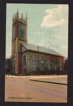 New York Postcard St Paul's P E Church Troy NY 1908 | eBay