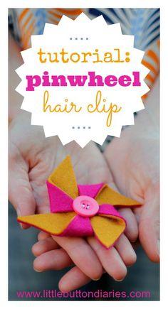 pinwheel hairclip tutorial - Little Button Diaries