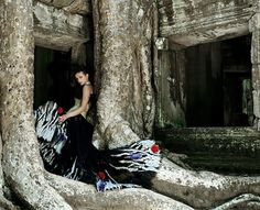 Photographed at Angor Thom South Gate, Angkor Wat and Bayon temples, Siem Reap, Cambodia; 2004. Model, Indre Kazlauskaite at Select. Hair and make-up by Dirk Neuhoefer.