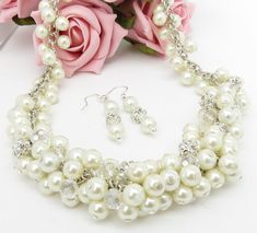 White Chunky Necklace Vintage Style Necklace by crystaljemscouk, £17.00 What do you think @ponderingpaige