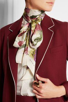 Gucci|Floral-print silk scarf|NET-A-PORTER.COM