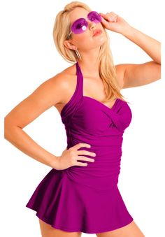 Sweetheart Bandeau Shirred Front Swim Dress by Carol Wiors Slimsuit™ | Plus Size Swim Dresses | Woman Within
