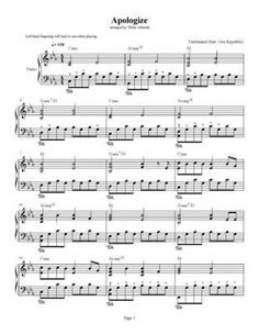 Apologize - Timbaland - feat. One Republic - piano sheet - Download Sheet Music