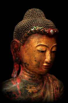 """""""Do not look for a sanctuary in anyone except yourself."""" —Buddha (Sculpture: Extremely Rare 19C Standing Mandalay Burma Buddha) ..*"""