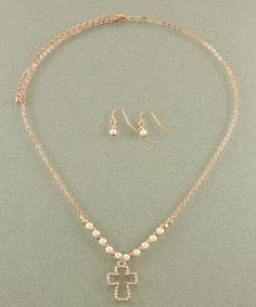 Open Cross Necklace Set in Rose Gold #cross #necklace