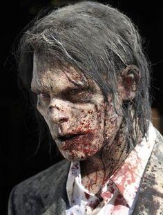 Homemade Halloween Zombie costume skin and hair - never underestimate flour!