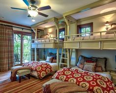 Loft bed over a queen-size bed.