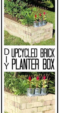 Learn how to make your very own recycled brick raised garden bed without any grout! Learn how to make your very own recycled brick raised garden bed without any grout! Building A Raised Garden, Raised Garden Beds, Raised Beds, Raised Gardens, Brick Flower Bed, Brick Planter, Raised Planter Boxes, Planter Ideas, Recycled Brick