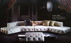 Chesterfield Big Sofa 500cm Ledersofa Couch Wohnlandschaft XXL Neu mit Steinen