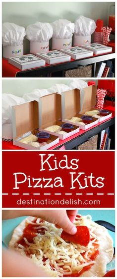 Kids' Pizza Kits + A Pizza Birthday Party with Minted (PART Kids Pizza Kits – a cute pizza party idea for the kids! These pizza kits let kids be a chef for the day as they make their own personal mini pizzas. Kids Pizza Party, Kids Cooking Party, Pizza Party Birthday, Cooking With Kids, Fun Cooking, 5th Birthday, Cooking Cake, Girl Cooking, Toddler Meals