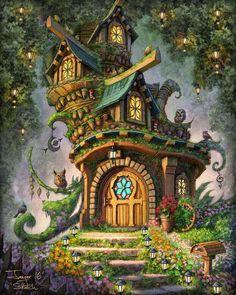 Fantasy Artwork, Fantasy Concept Art, Fantasy Art Landscapes, Fantasy Forest, Fantasy House, Fantasy World, Magic Forest, Tree House Drawing, Fairytale House