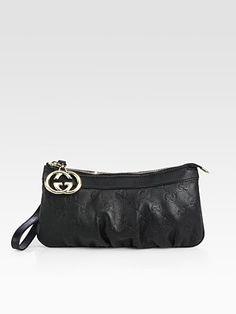 Gucci - New Britt Leather Wristlet.