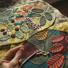 Trendy Ideas Hand Quilting Fiber ArtYou can find Fiber art and more on our Trendy Ideas Hand Quilting Fiber Art Felt Embroidery, Embroidery Stitches, Embroidery Patterns, Freehand Machine Embroidery, Quilt Patterns, Fabric Art, Fabric Crafts, Sewing Crafts, Wool Applique