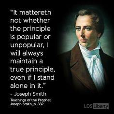 "The Prophet Joseph Smith also said: ""It is our duty to concentrate all our influence to make popular that which is sound and good, and unpopular that which is unsound. 'Tis right, politically, for a man who has influence to use it… From henceforth I will maintain all the influence I can get"" (History of the Church, 5:286). LIKE and SHARE if you agree."
