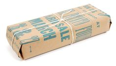 I love the simplicity of wrapping with butcher paper & string. Even more so with letterpress type on it.
