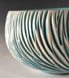Blue Rain Feather Medium Serving Bowl #PotteryClasses