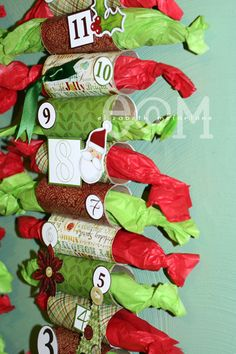 Toilet Paper Roll Advent Calendar. ~ I think this is a great one for toddlers so they get a visual of each day that's gone by because the present has been removed.