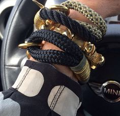 Renee Renee Karu stacking on The Ropes Maine Climbing Rope, Mademoiselle, Ropes, Monogram Initials, Fingerless Gloves, Arm Warmers, Maine, Jewelery, Jewelry Accessories