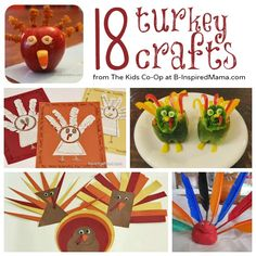 18 #Turkey Crafts from the Kids Co-Op at B-InspiredMama.com - #kids #kidscrafts