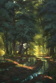 Quiet Forest, Florian Moncomble on ArtStation at https://www.artstation.com/artwork/1RdaG
