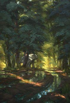 Quiet Forest, Florian Moncomble on ArtStation at https://www.artstation.com/artwork/1RdaG